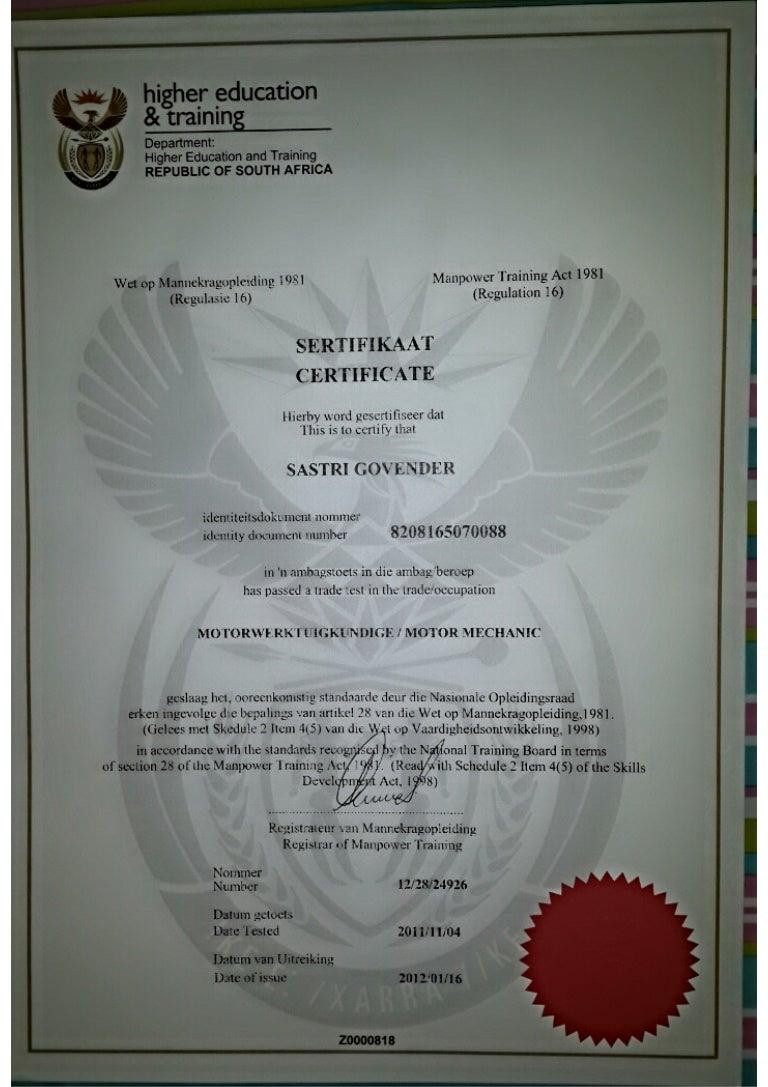 certificate mechanic motor govender slideshare sastri mr upcoming