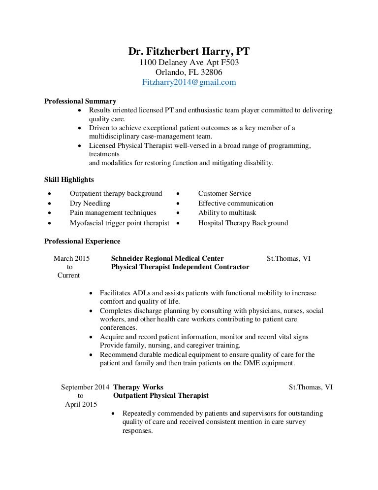 Physical Therapist Sample Resume  Sample Resume And Free Resume