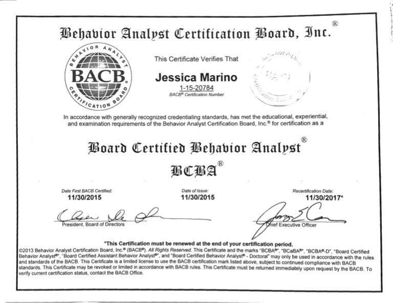 Bcba Certificate