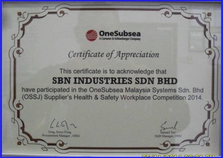 26 appreciation certificate 2014 onesubsea sbn industries yadclub Images