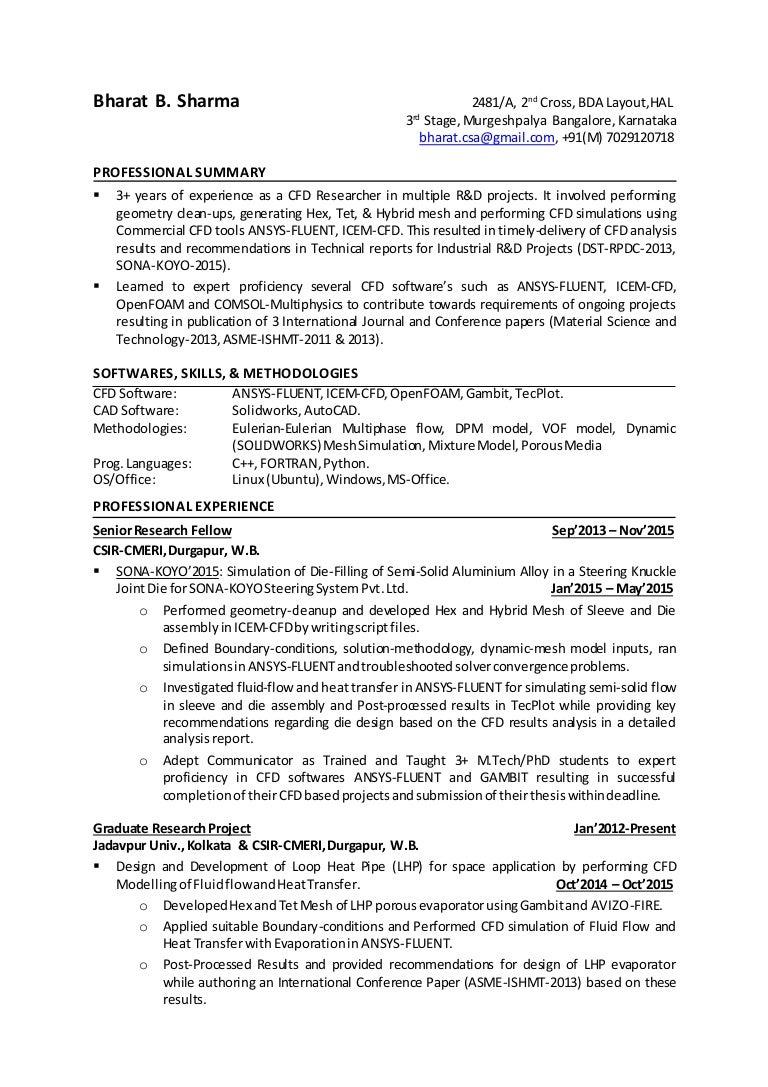Linkedin Resume- CFD engineer