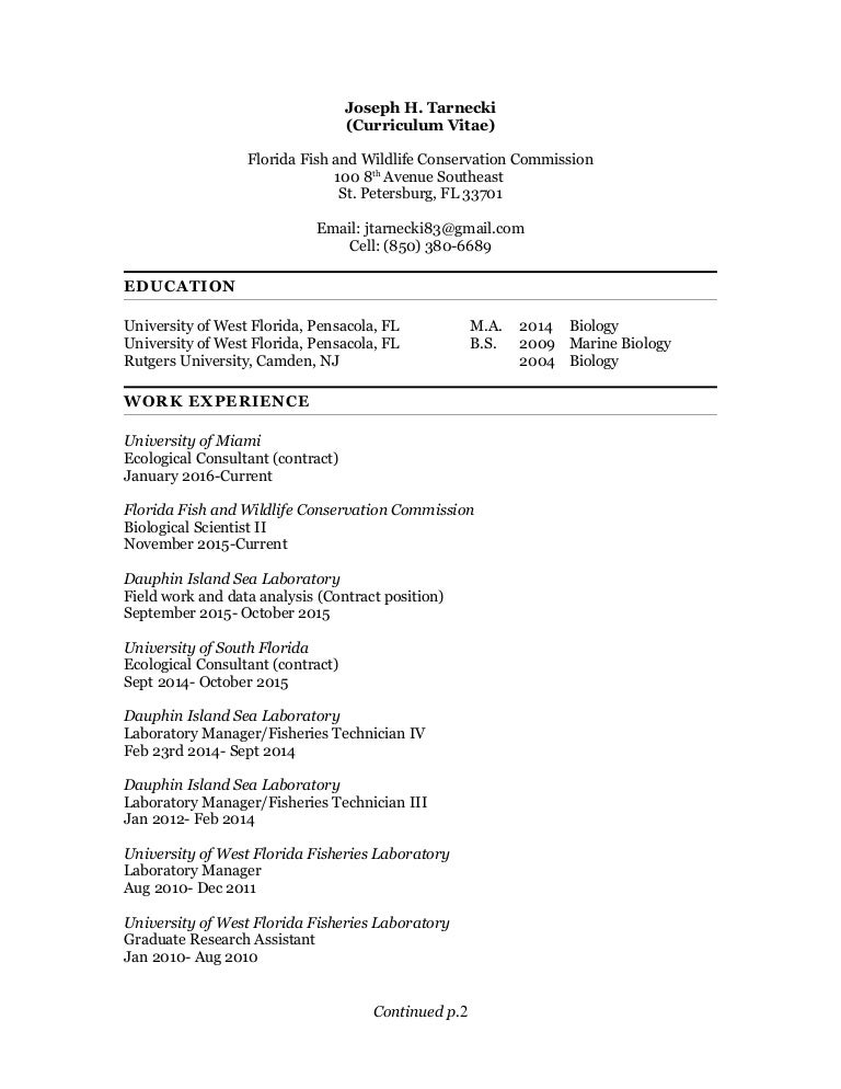 Wildlife Technician Cover Letter. Tarnecki  Curriculum Vitae 2016
