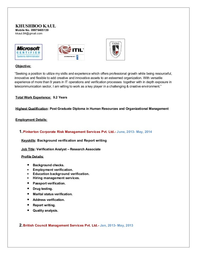 khushboo kaul cv - Sample Of A Professional Resume
