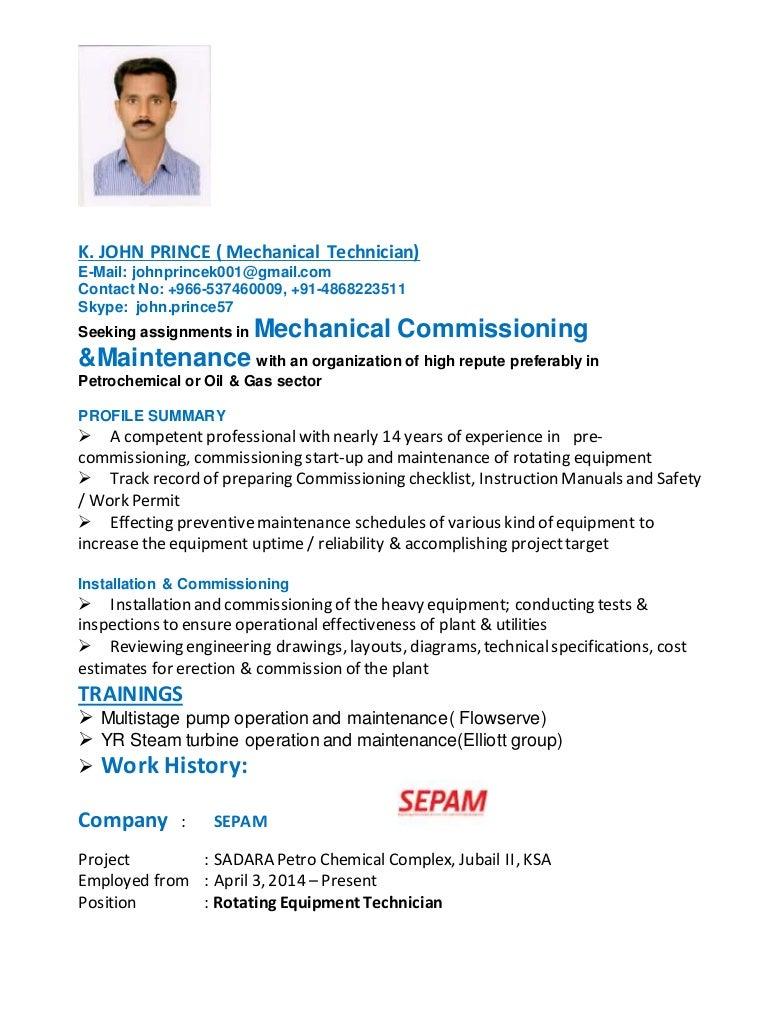 Resume of John Prince (Rotating Equipment Technician)