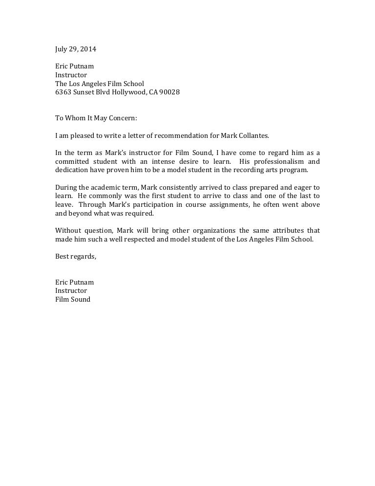 Film School Recommendation Letter