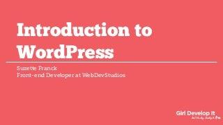 GDI - Intro to WordPress