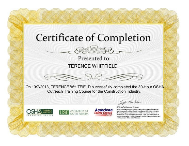 OSHA 30 Hour Certification