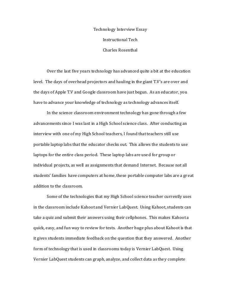 rosenthal final draft technology interview essay instruct tech
