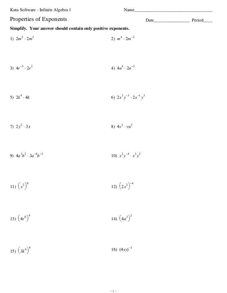 Algebra 1 - Lesson 7.4 More Multiplication Properties of Exponents ...