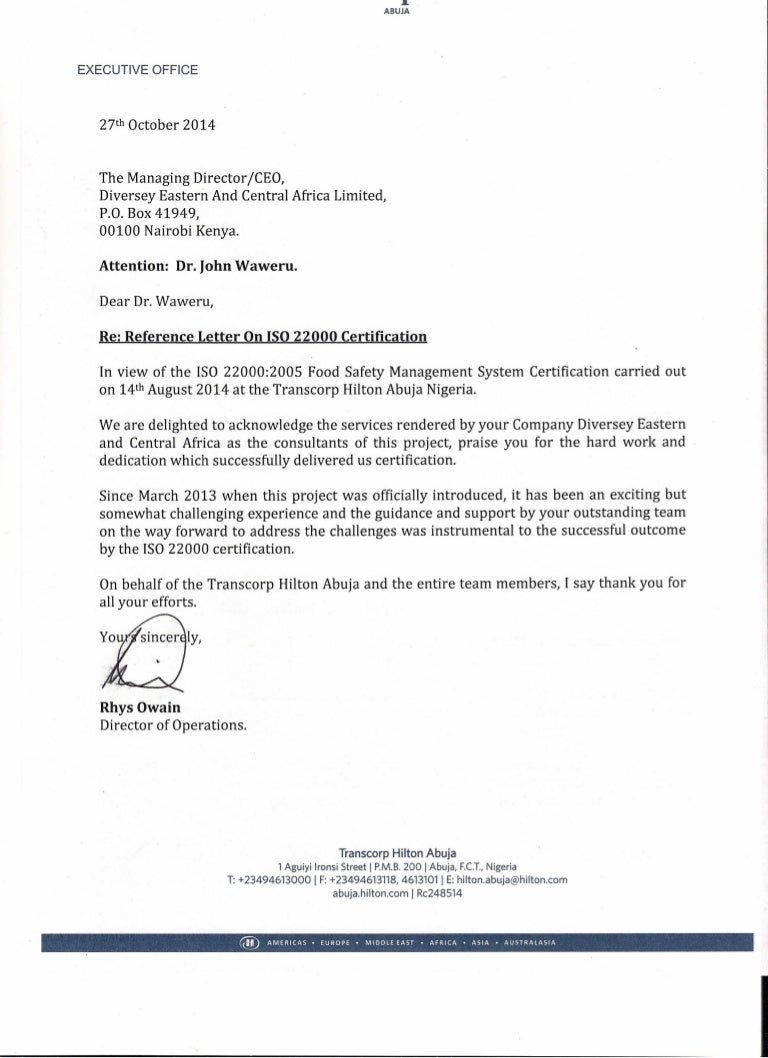 Reference Letter On Iso22000 Certification 2