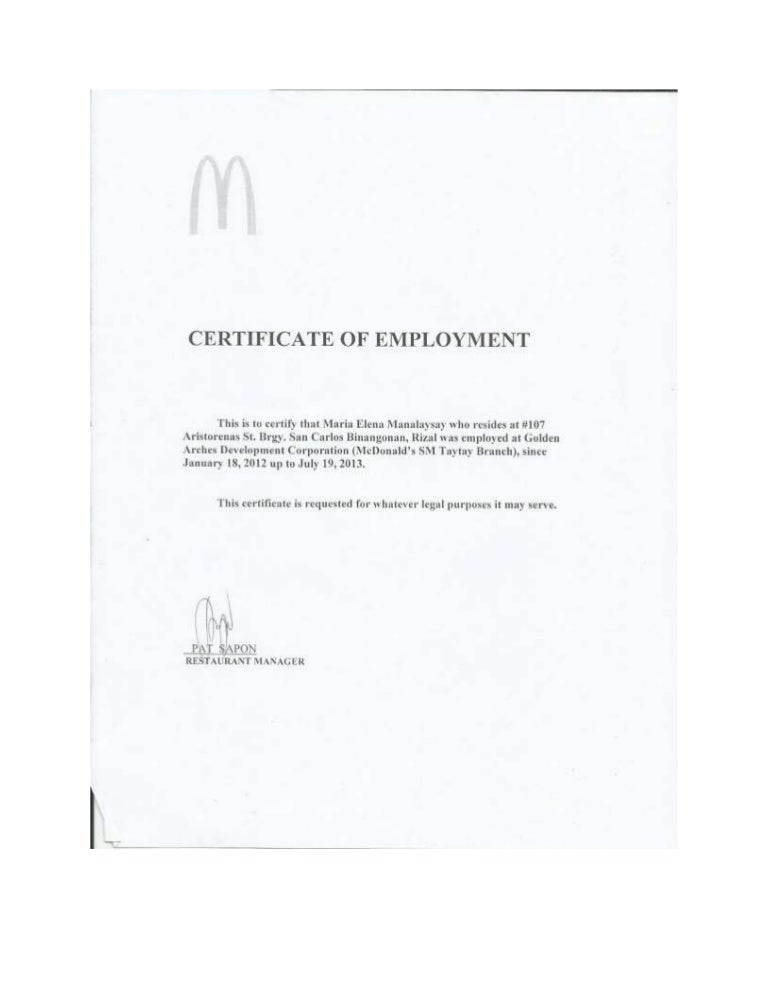 Mcdo certificate of employment yadclub Choice Image