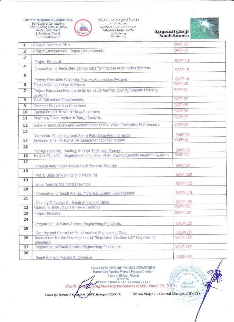 Saudi Aramco Engineering Procedures (SAEP)1