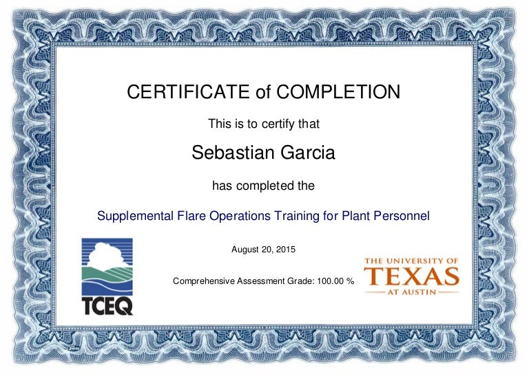 flare supplemental operations training certificate of completion