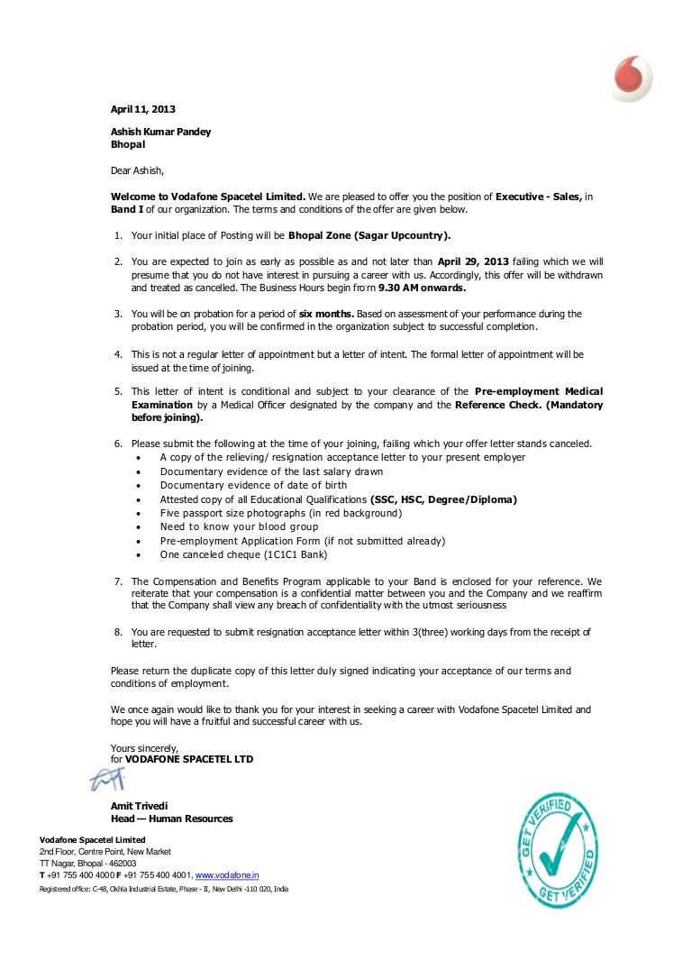 Letter of employment with probationary period