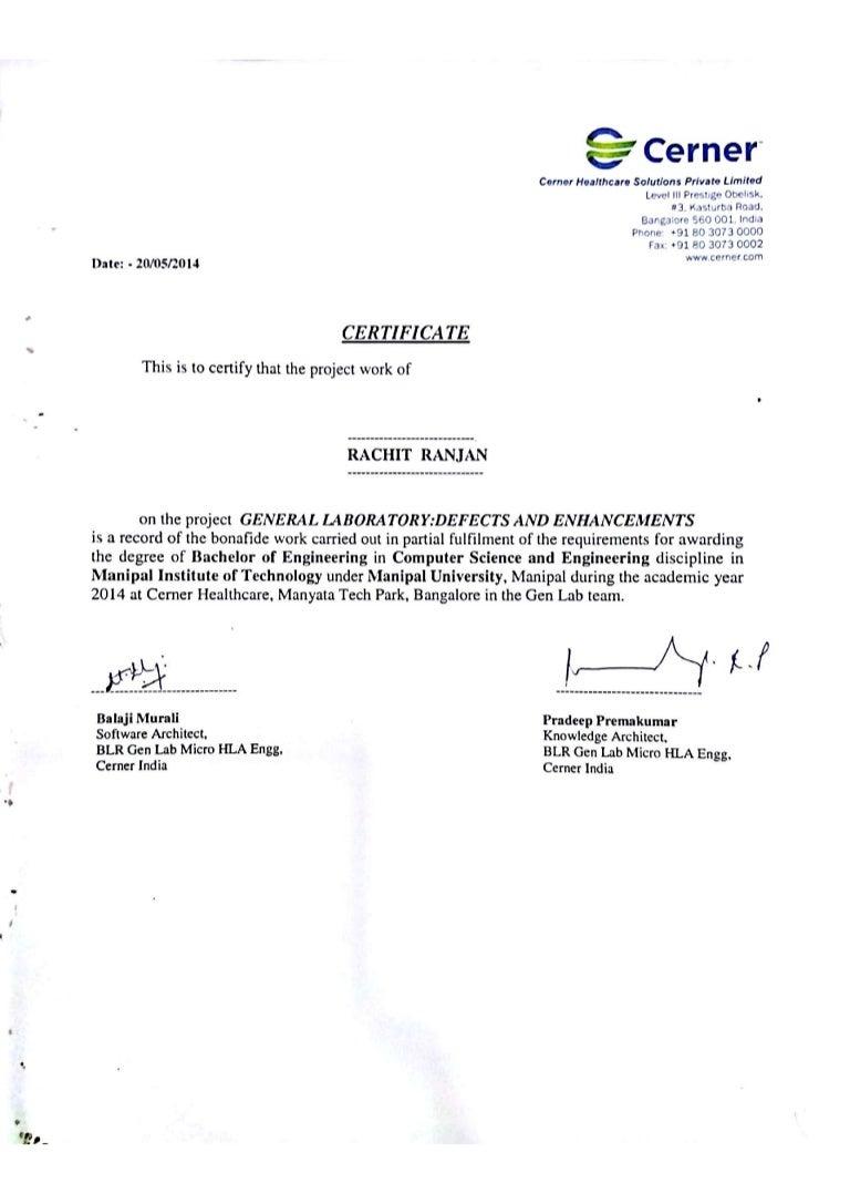 internship certificate completion slideshare cerner upcoming