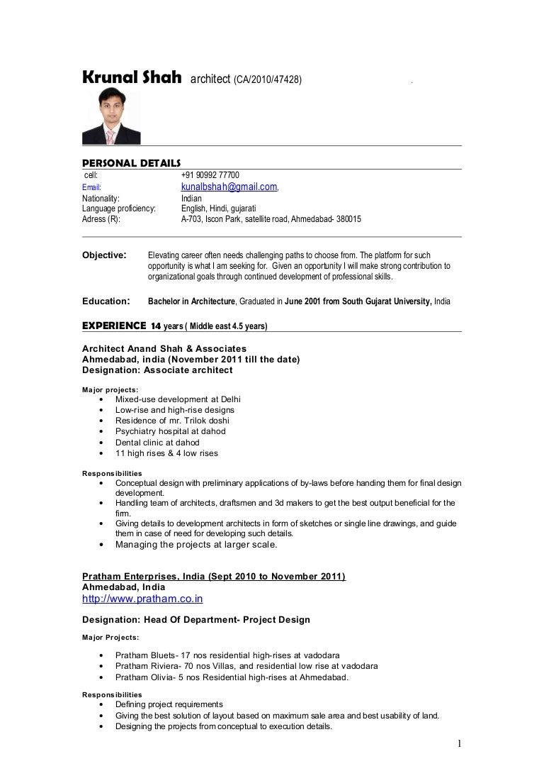 resume Language Proficiency Resume resume architect krunal shah