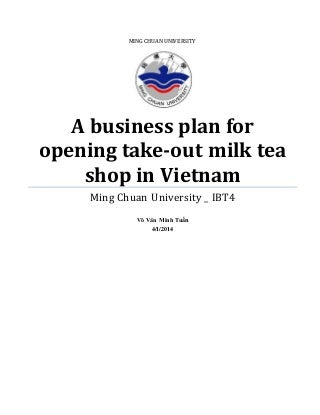 A business plan for bubble milk tea