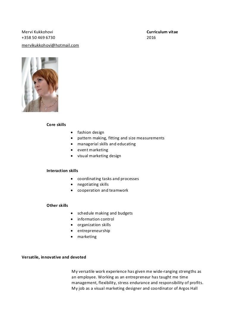 curriculum vitae mervi kukkohovi 2016