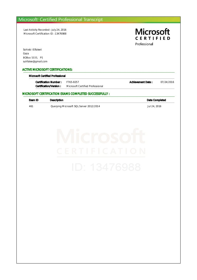 Microsoft certified professional transactionpdf 1betcityfo Images