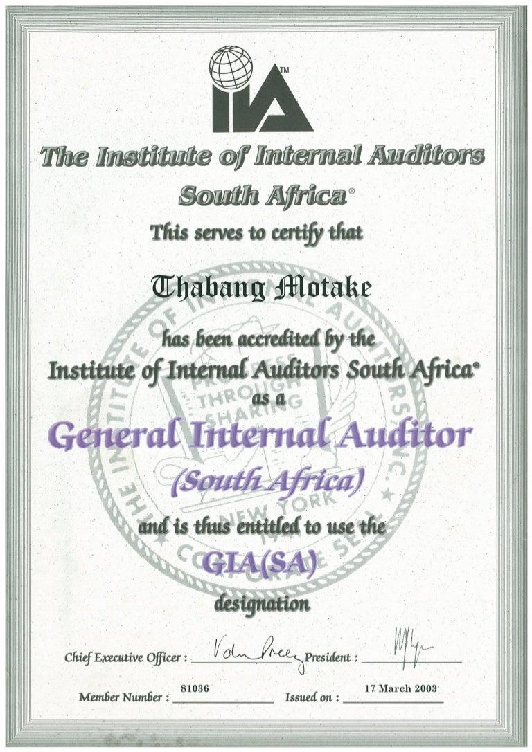 General Internal Auditor GIA Certificate