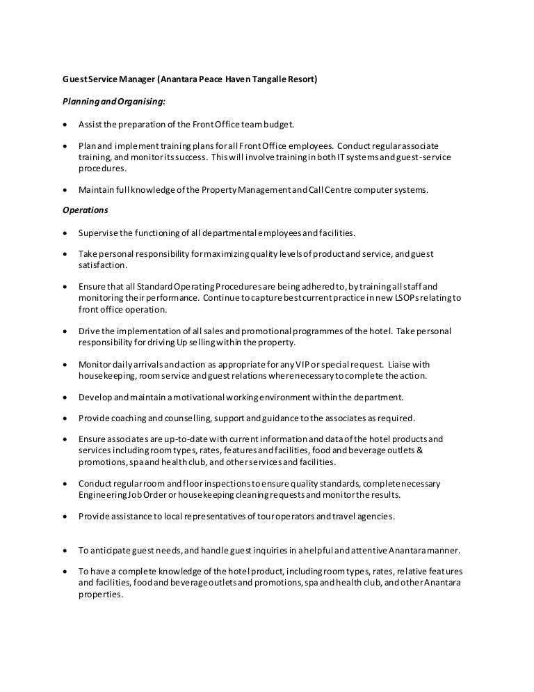 duties and resposibilities - Housekeeping Responsibilities