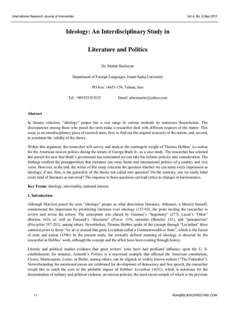 ideology an interdisciplinary study in literature and politics