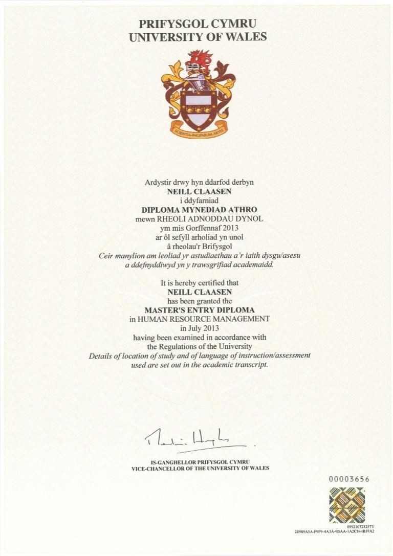 diploma - university of wales