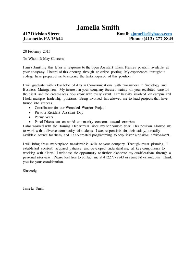 cover letter format 2015