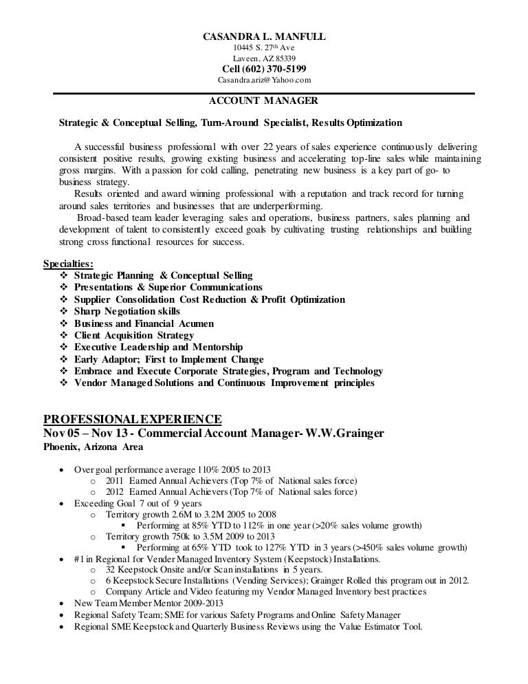 Vending Manager Resume