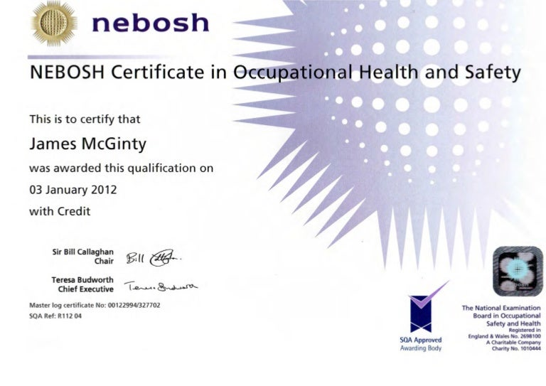 J McGinty NEBOSH Certificate In Occupational Health Safety