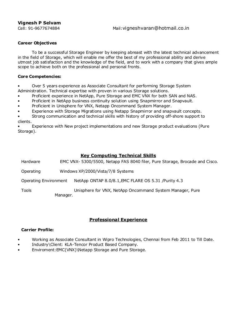 vignesh resume 1 2 - Emc Storage Engineer Sample Resume