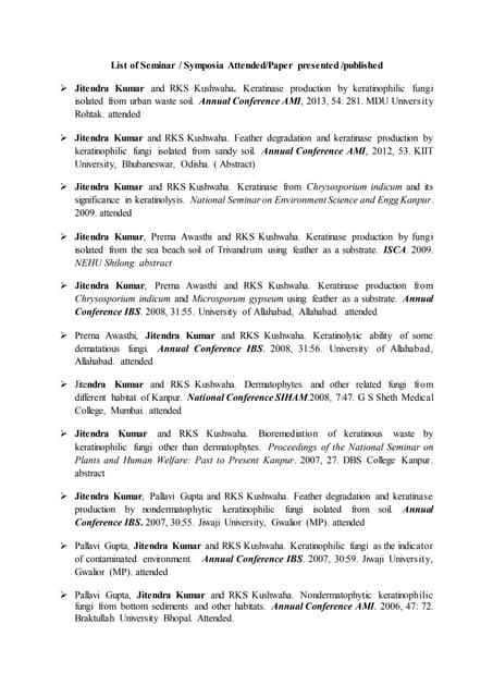 List of Seminar workshop