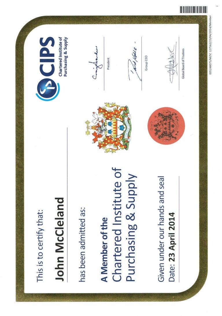 Certificate MCIPS