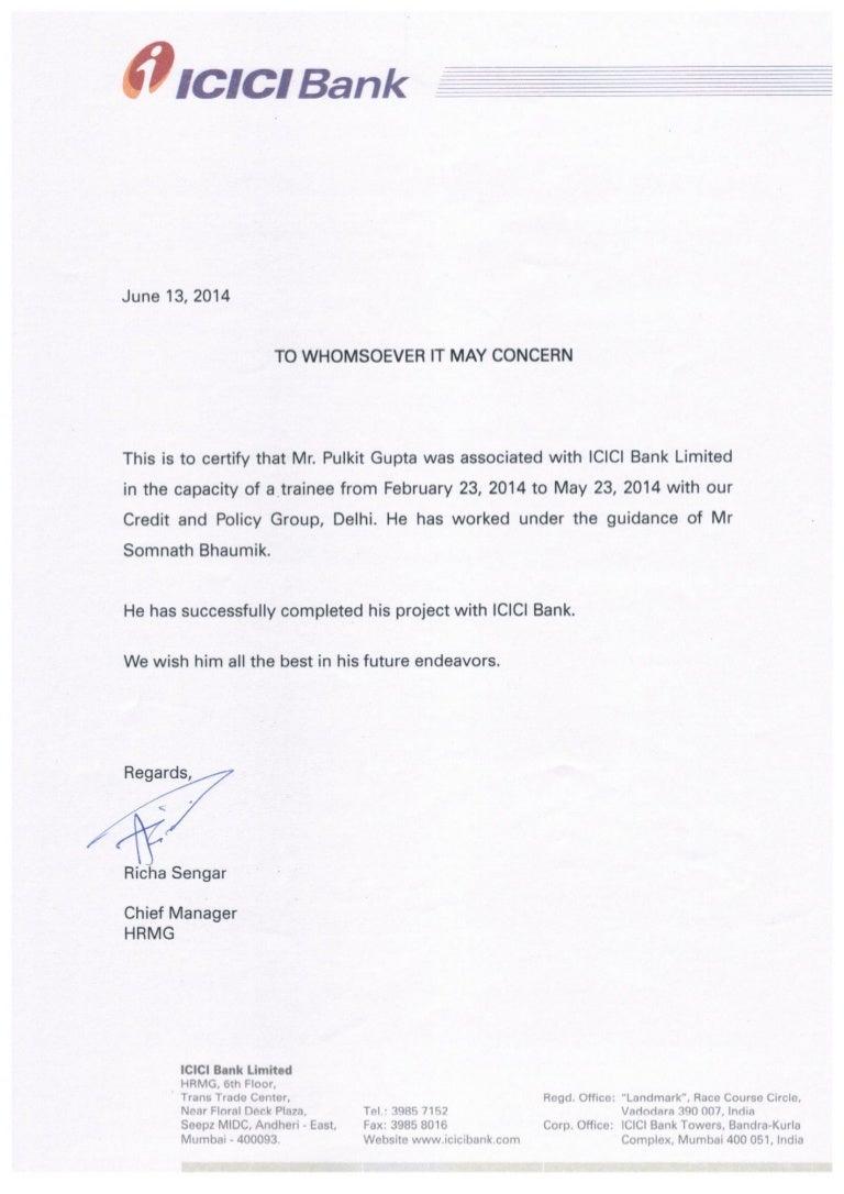 Icici Bank Summer Internship Certificate
