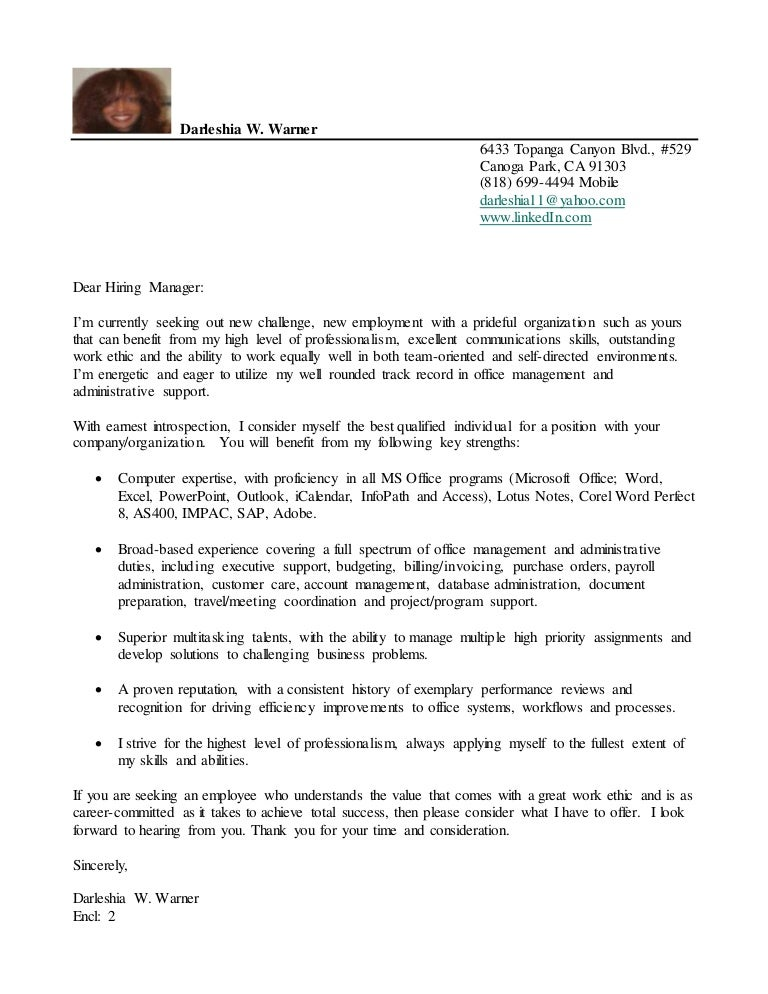 Darleshia W. Warner Cover Letter & Resume