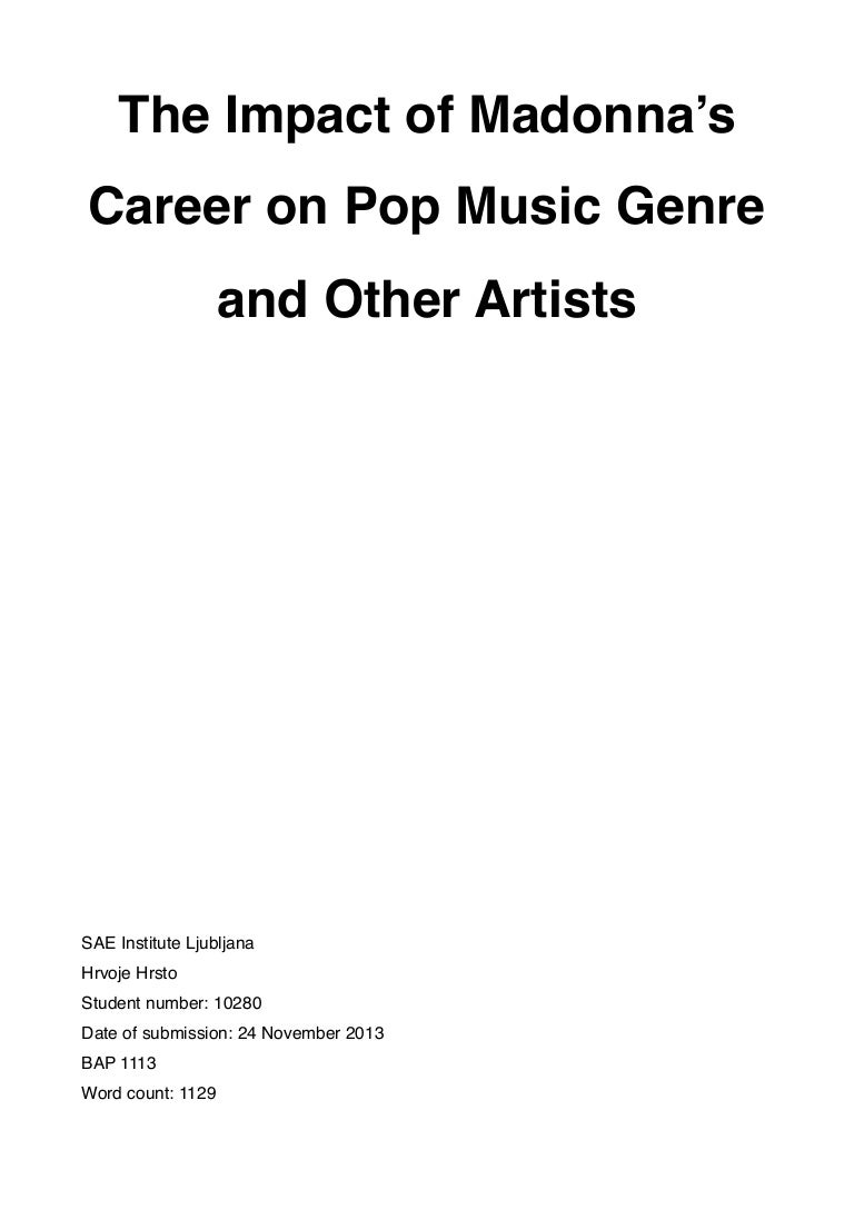 The Impact of Madonna's Career on Pop Music Genre and