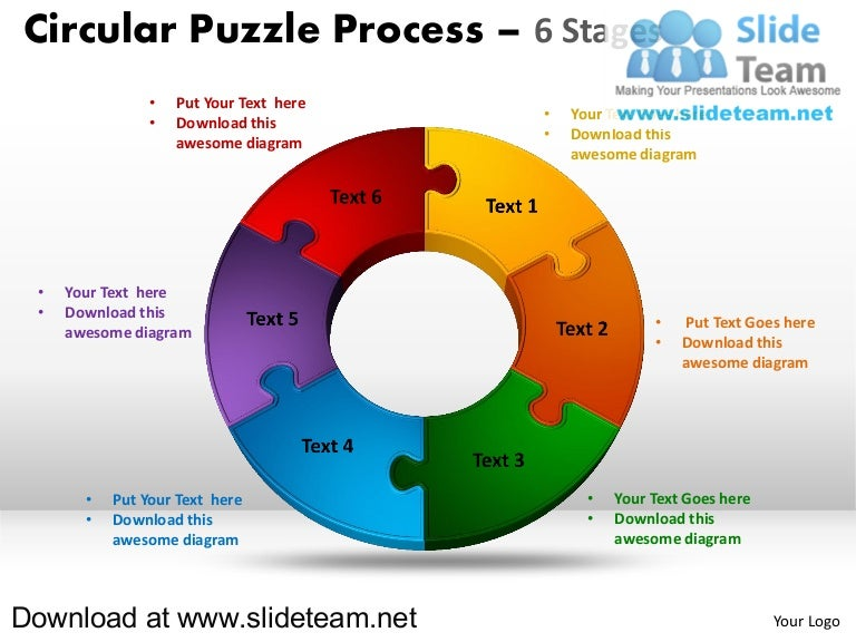 6 pieces pie chart circular puzzle with hole in center process powerp…, Modern powerpoint