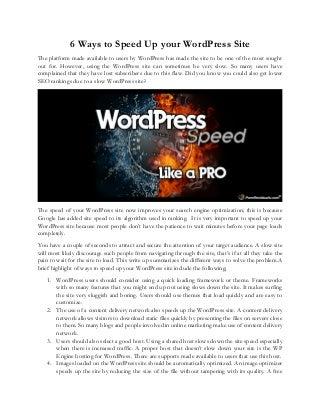 6 Ways to Speed Up your WordPress Site