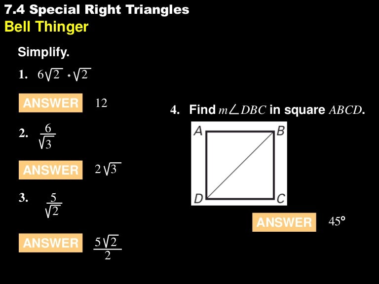 74 Special Right Triangles
