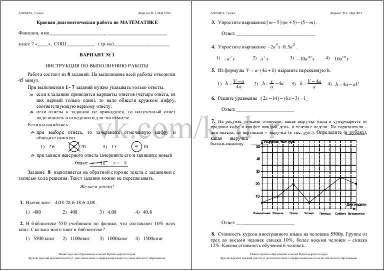 Кдр по алгебре 7 класс 2018 год