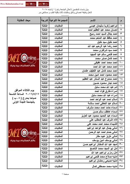 بيان باسماء المتقدمين لشغل وظيفة اخصائى وثائق ومكتبات ثالث بكلية الطب ومستشفى بدر - جامعة حلوان