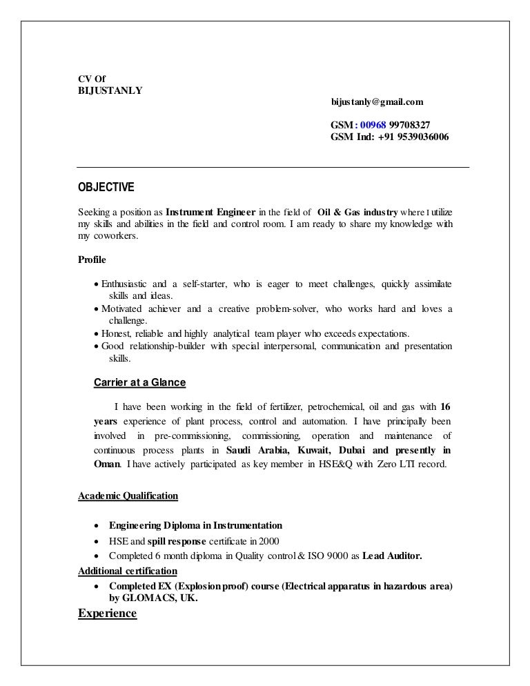 cv instrument commissioning engineer - Instrument Commissioning Engineer Sample Resume
