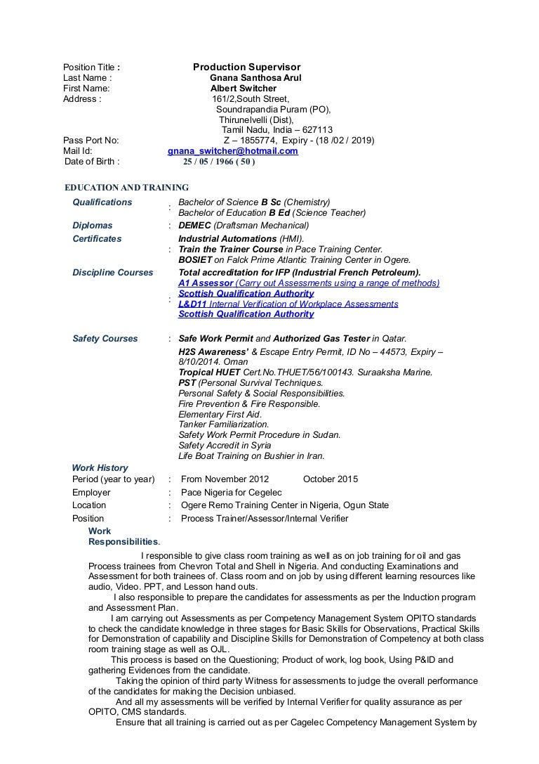 production supervisor cv for albert switcher