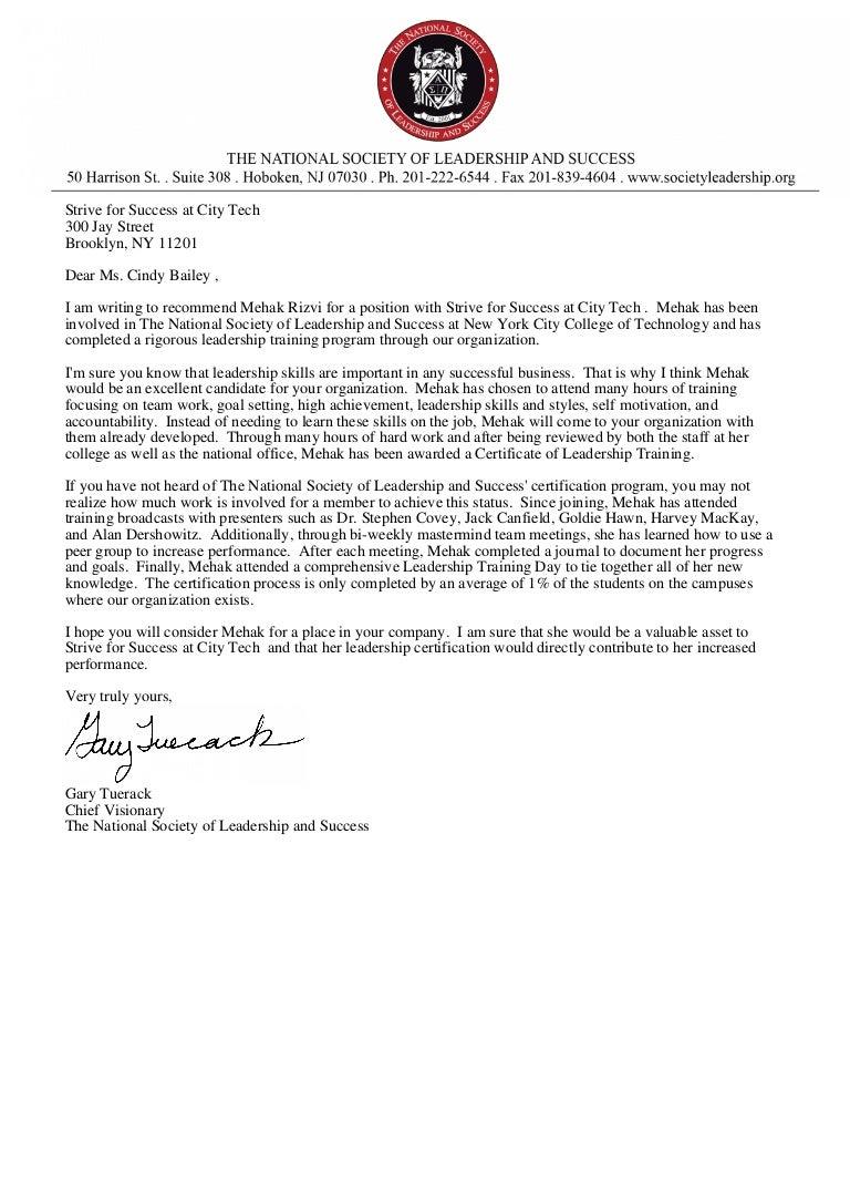 mehak rizvi letter of recommendation