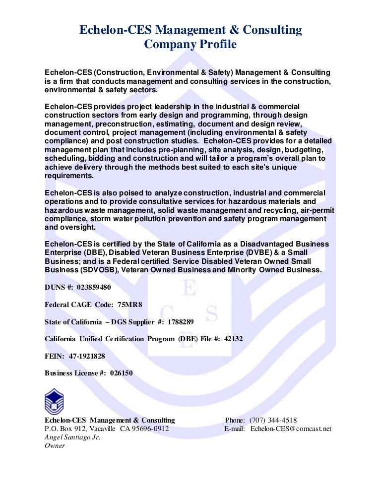 Echelon-CES Business Profile - V 3.0 - Nov 2014