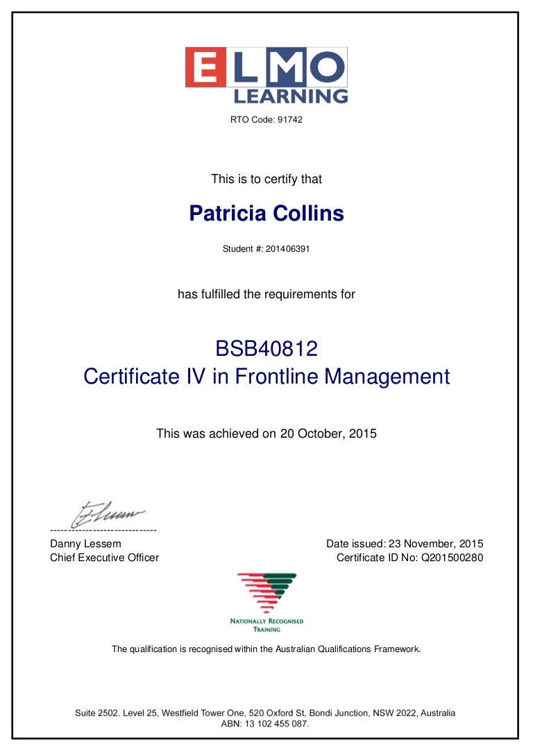 Cert iv frontline management bsb40812 cert xflitez Image collections