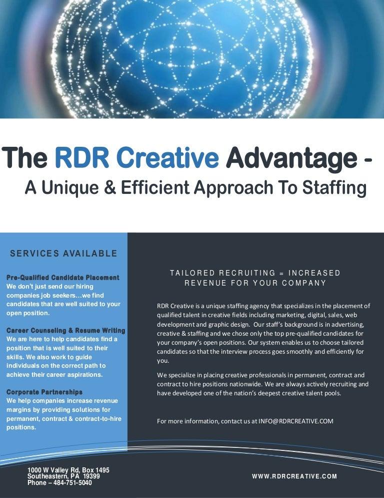 RDR Creative - One Sheet