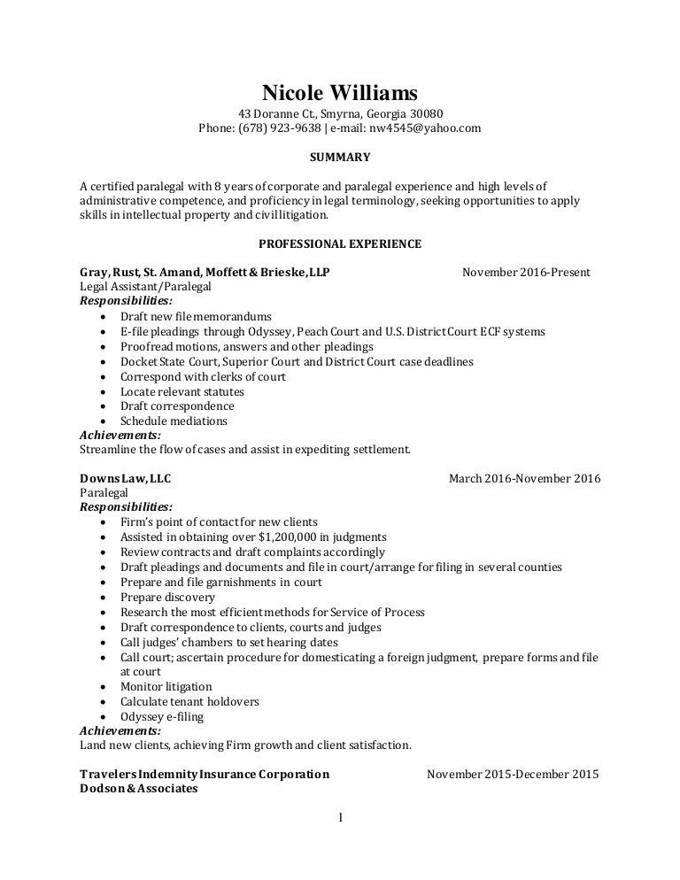 nicole williams paralegal resume no header gray rust nov16