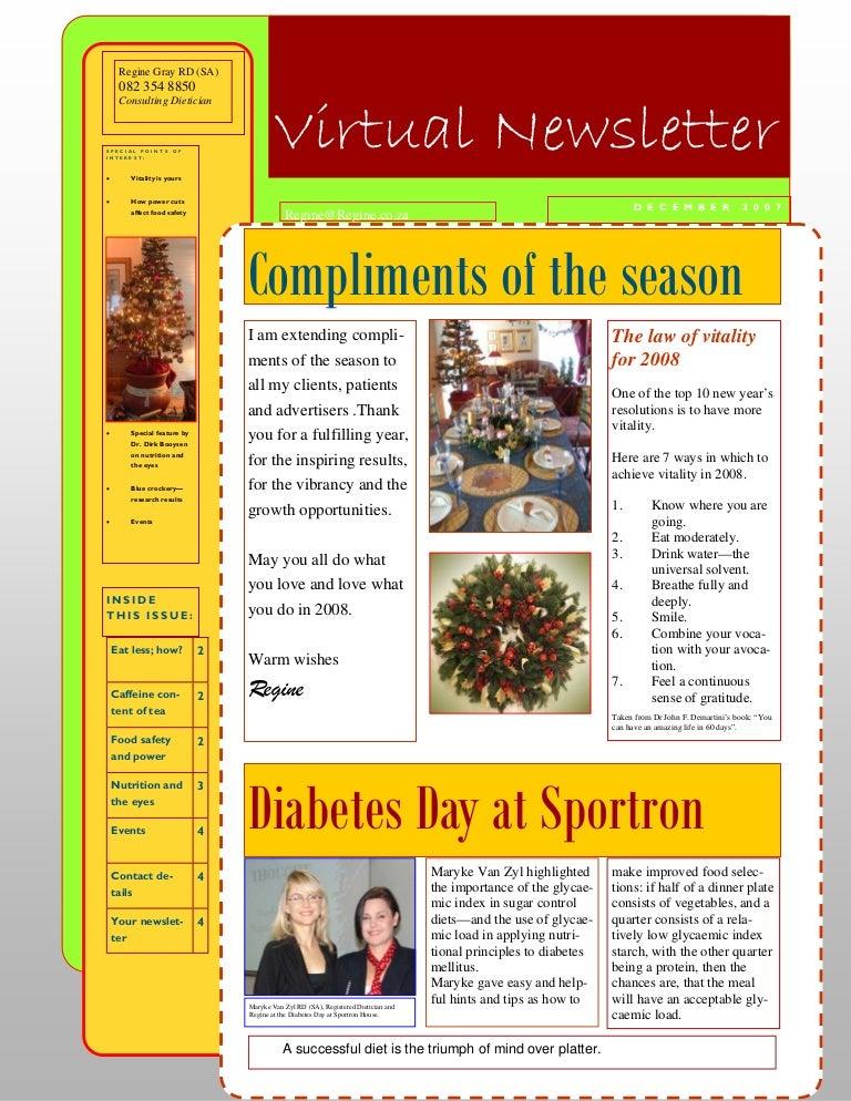 4 December 2007 Nutrition Newsletter