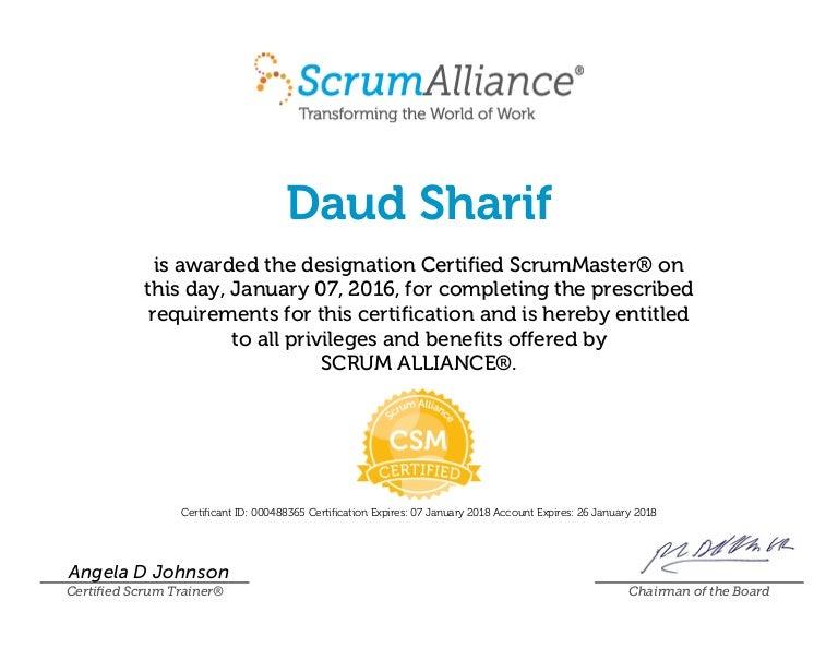 Certified ScrumMaster -ScrumAlliance